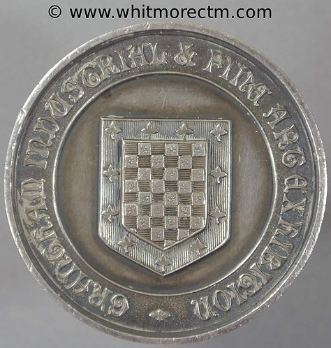 Grantham Lincolnshire 1902 Medal 39mm Industrial & Fine Arts Exhibition Silver