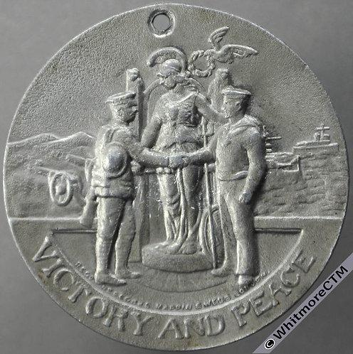 Oswaldtwistle 1919 Peace Medal 39mm By Mappin & Webb. Aluminium.