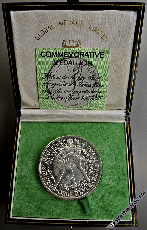 1966 England World Cup Medal 51mm Silver Plate By G.C. for Global Medals.