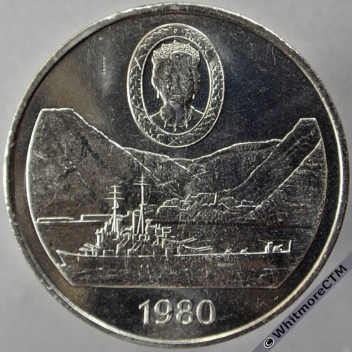 1980 St. Helena Crown - 25 Pence Queen Mother rev