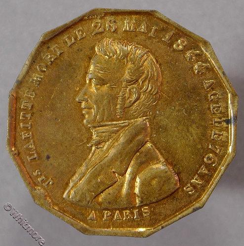1844 France Death of Jacques Laffitte Medal 12 sided gilt bronze 26mm