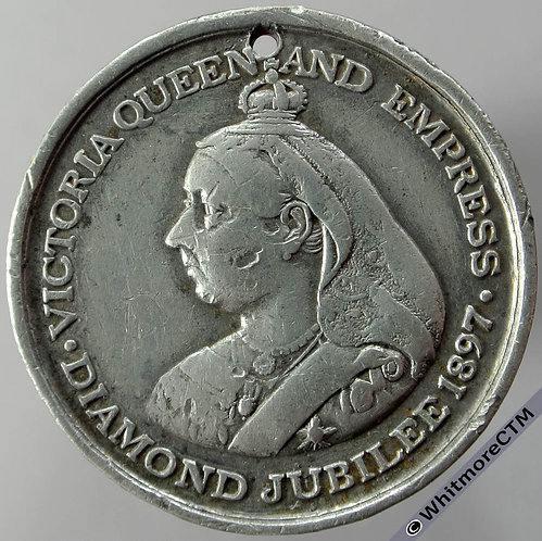 1897 Queen Victoria Diamond jubilee medallion 32mm BHM3565 W.M. Pierced