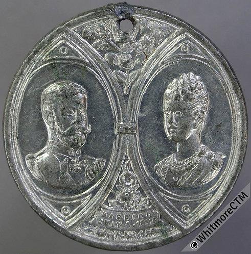 1893 Marriage Duke of York Medal 33mm WE1709A George V Pierced White metal.