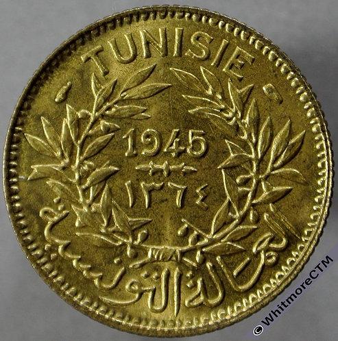 1945 Tunisia 1 Franc 1364 - obv