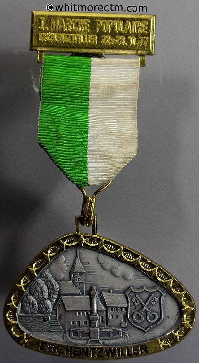 1977 France Eschentzwiller Alsace Medal 57x39mm - triangular silvered & gilt