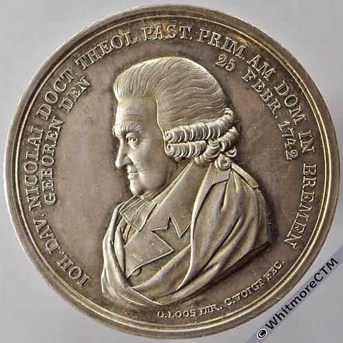 1821 Germany Bremen 50th Anniversary of Pastorship of Johan Nikolai Medal obv 42mm