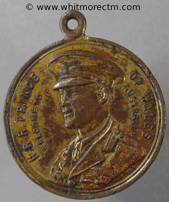1920 Australia Medal Visit of Prince of Wales Edward VIII 27mm obv