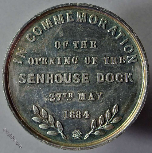 Maryport Cumbria 1884 Opening of the Senhouse Dock Medal 39mm W.M.