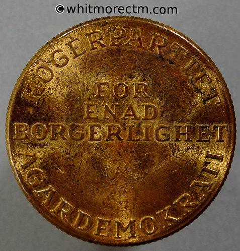 Sweden Political Medal 33mm Hogerparteit for enad Borgerlighet Agardemokrati