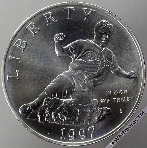 1997 USA $1 Jackie Robinson Baseball 1962 hall of fame - Silver