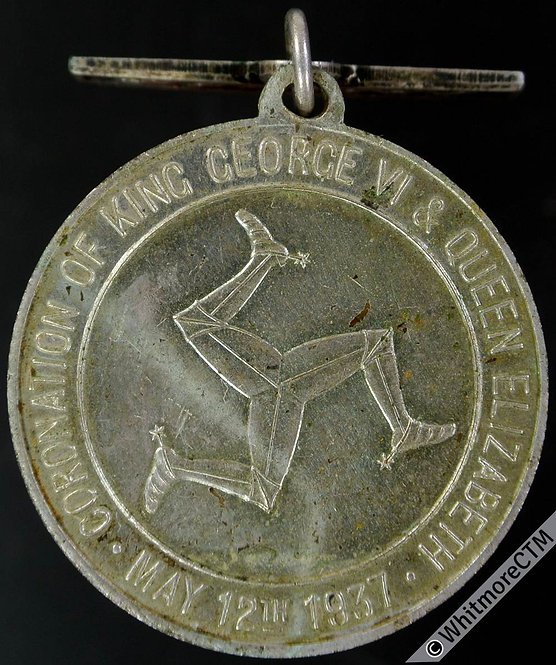 Isle of Man 1937 Coronation Medal 32mm WE7370D Silvered brass with suspender