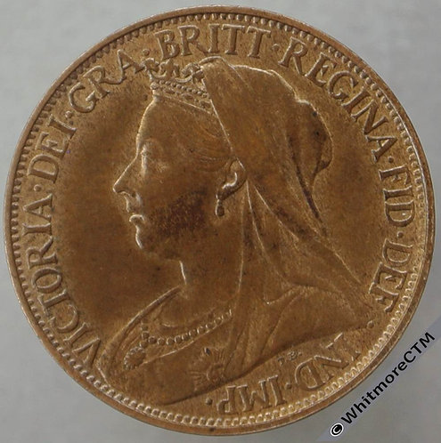 1896 British Bronze Farthing Victoria Veiled Head. 30% Luster