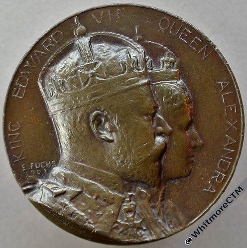 1902 Edward VII Coronation Medal 38mm WE4205N By Fuchs Elkington Bronze Cased