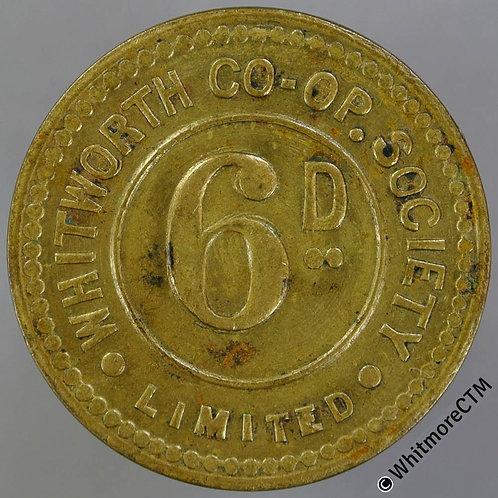Co-Operative Society token Whitworth Lancashire 28mm 6D. plain edge