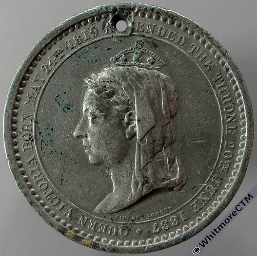 1887 Golden Jubilee Queen Victoria Medal 36mm B3276 Pinches - White Metal