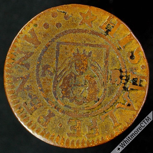 17th Century Token Worcester 126 ½d Richard Bedoes. City Arms / Mercers Arms.