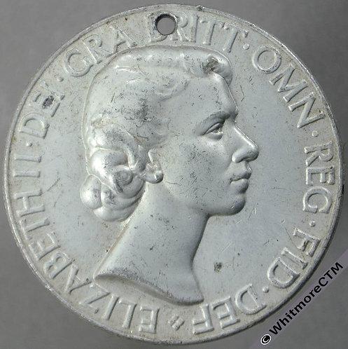 1953 West Hartlepool Queen Elizabeth II Coronation Medal 35mm WE8055H pierced - obv