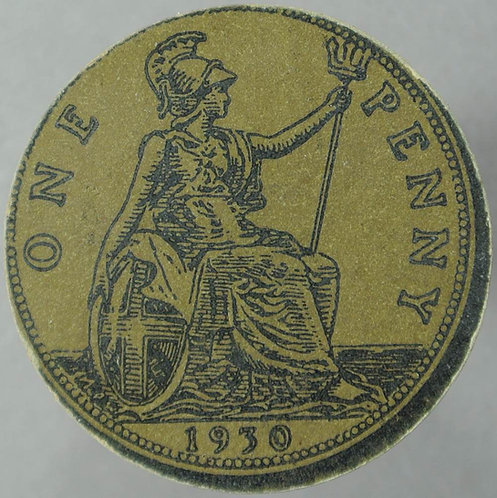 1930 Toy Coin Penny - Bronze Card 31mm x 1.5mm. Evans 1438