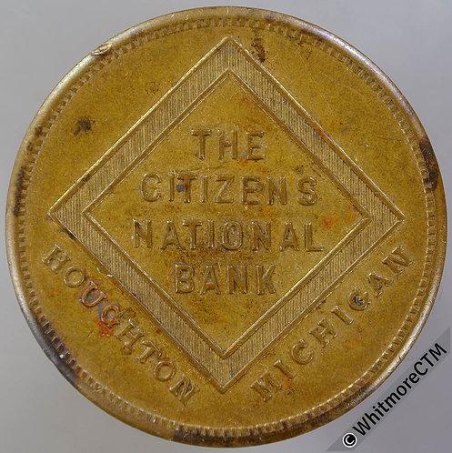 USA Houghton Michigan Citizens National Bank Token 31mm savings account of $5.00