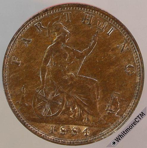 1884 British Bronze Farthing Victoria Bun Head. 10% Luster