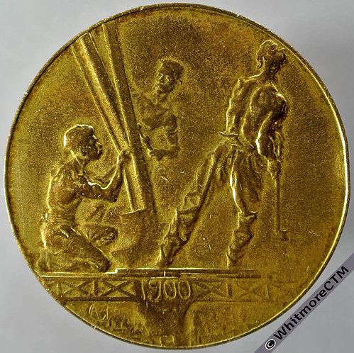 1900 France Paris Sommet de la Tour Eiffel  Medal obv 41mm - Gilt Bronze