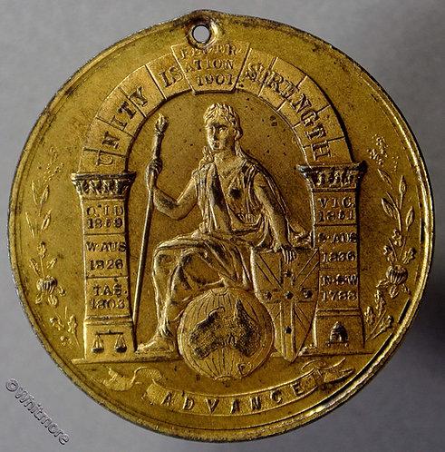 1901 Australia Federation Medal 31mm Queensland Gilt bronze