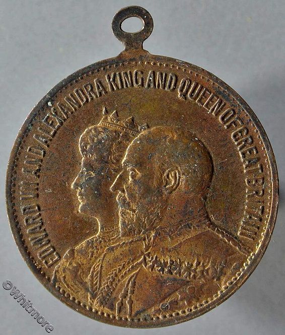 1902 Coronation Edward VII & Alexandria medal obv 28mm brass with suspender