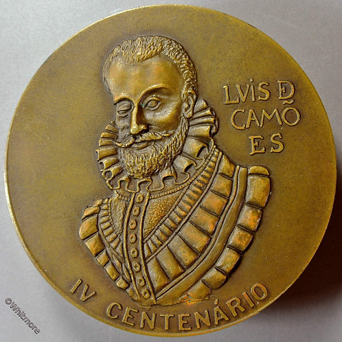 1980 Portugal 400th Anniversary Death of Poet Luis de Camoes Medal 80mm Bronze