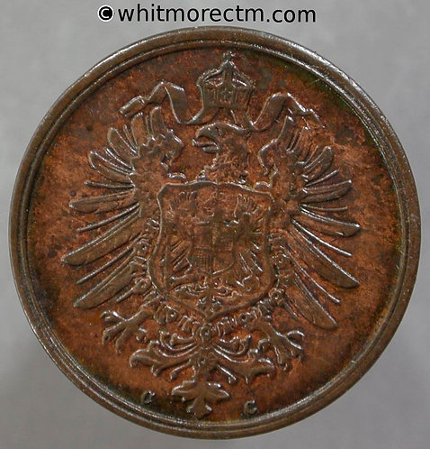 1874 Germany 2 Pfennig coin 1874C Y2 obv