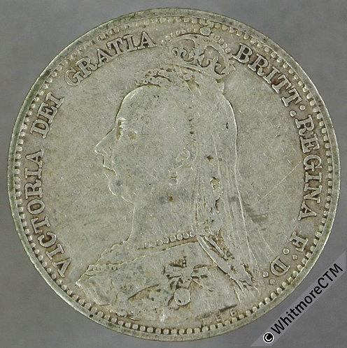 1890 Victoria Jubilee Head Sixpence