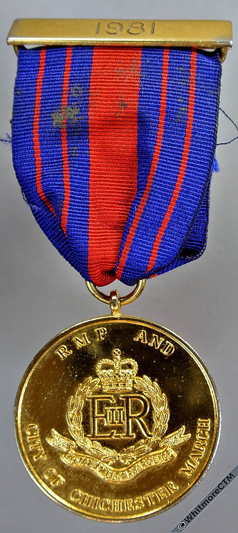 Chichester 1981 Royal Military Police RMP City march Medal 39mm - Gilt Bronze