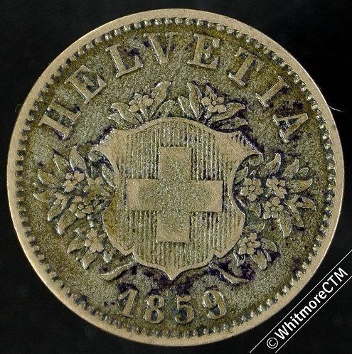 1859 Switzerland 20 Centimes