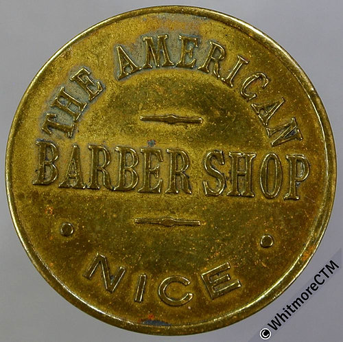 France 25c The American Barber Shop Token 24mm Brass