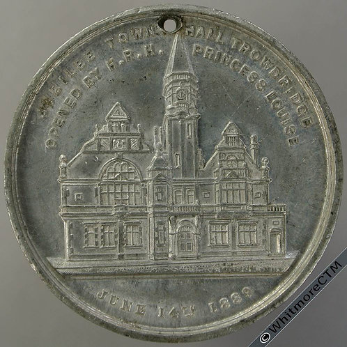Trowbridge 1889 Town Hall Opened Medal 38mm WE1593 Not in Taylor. White Metal