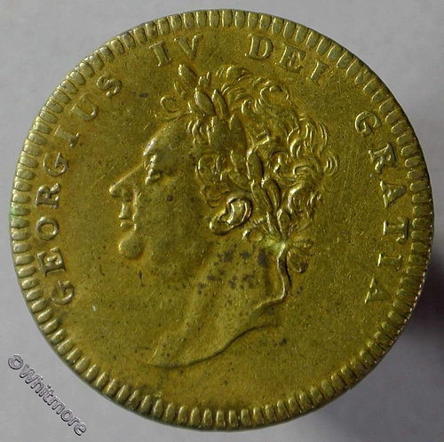 1830 Death of George IV Medallion 25mm B1399 funerary urn onplinth - Rare Brass