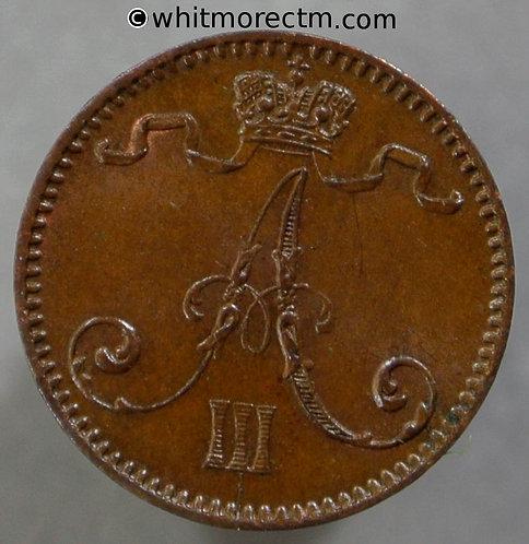 1893 Finland 1 Pennia coin - No Dot