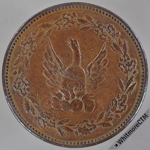 19th Century Penny Token Non-local 1610 Pheonix in wreath. Overstruck - Cleaned