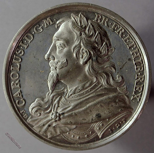 Charles I B1437-25 Laureate bust L.  By Thomason after Dassier.  White metal