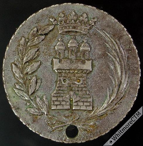 Spain Algeciras 1834 Isabel II Proclaimed Medal 26mm Silver Pierced