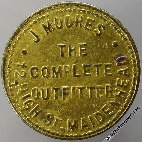 Bonus Token Maidenhead 26mm J. Moore's outfitter 12 High St. good for 1d. brass
