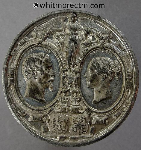 1855 Visit of Emperor Napoleon III Medallion 39mm B2563 By Allen & Moore White metal
