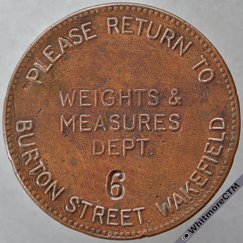 Wakefield Miscellaneous Token West Riding County Council Weights & Measures 31mm