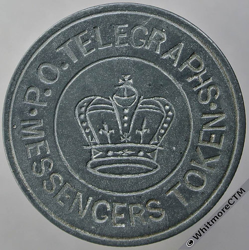 Transport Token P.O.Telegraphs - Messengers Token 32mm - Crown - All incuse