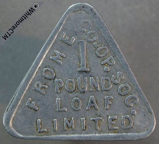 Co-Operative Society Token Frome 27mm 1 Pound Loaf - both sides. Triangular alum