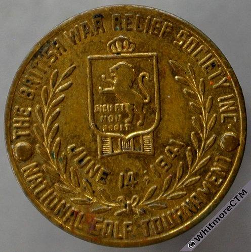 1941 War Relief Society Golf Tournament Medal 16mm same both sides. Gilt bronze