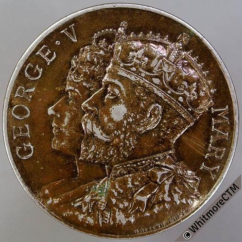 "Wimbledon 1911 George V Coronation Medal 35mm B4026 ""Antique"" finish silver"