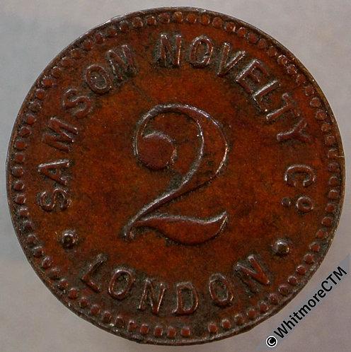 Value Stated Token London 18mm Samson Novelty 2 - same both sides. Bronze