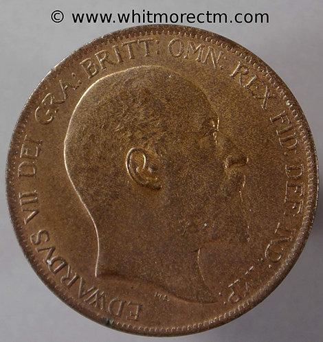 1902 Edward VII Bronze Penny 1d - 80% Luster
