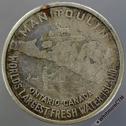 Canada Ontario Manitoulin 32mm 1969 Dollar. Map with fishing scene / Canoe - CN
