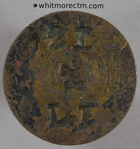 """Coin Weight Token 23mm 8.73g """"21 & L I"""" / W All incuse. Not in Withers"""